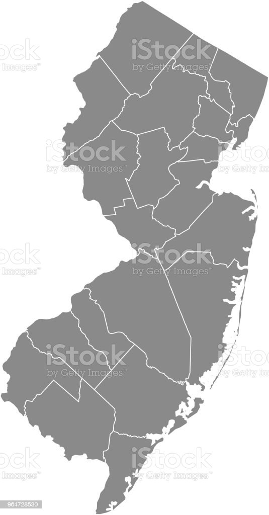 New Jersey county map vector outline gray background. Map of New Jersey state of United States of America with counties borders royalty-free new jersey county map vector outline gray background map of new jersey state of united states of america with counties borders stock vector art & more images of art