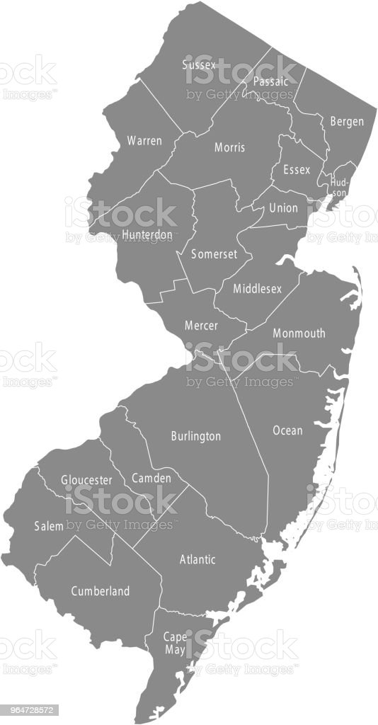 New Jersey county map vector outline gray background. Map of New Jersey state of USA with borders and counties names labeled royalty-free new jersey county map vector outline gray background map of new jersey state of usa with borders and counties names labeled stock vector art & more images of art