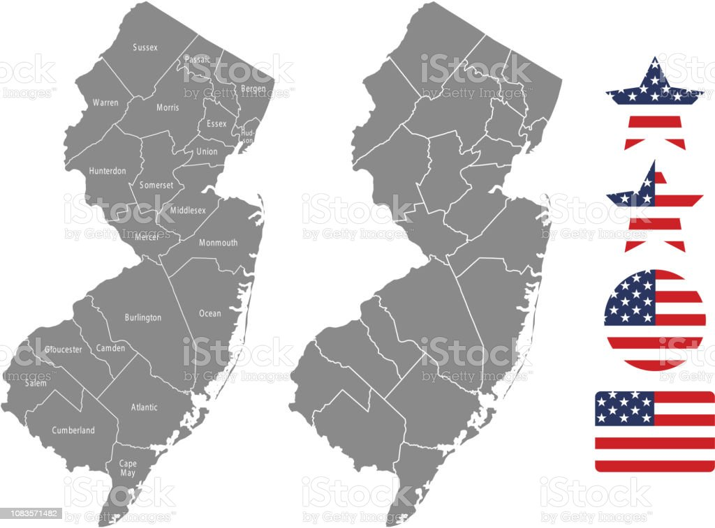 New Jersey County Map Vector Outline In Gray Background New ...