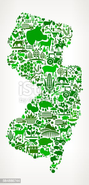 New Jersey Icon . The green vector icons create a seamless pattern and include popular farming and agriculture. Farm house, farm animals, fruits and vegetables are among the icons used in this file. The icons are carefully arranged on a light background and vary in size and shades of green color.
