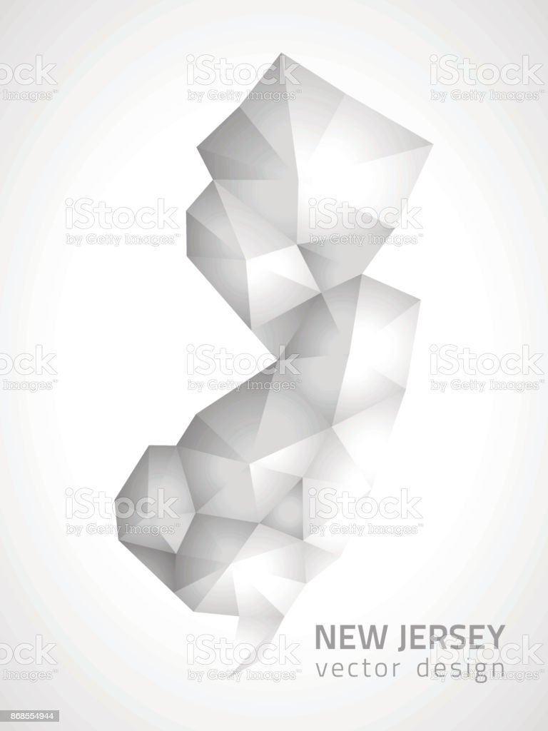 New Jersey grey and silver 3d mosaic vector shadow triangle map vector art illustration