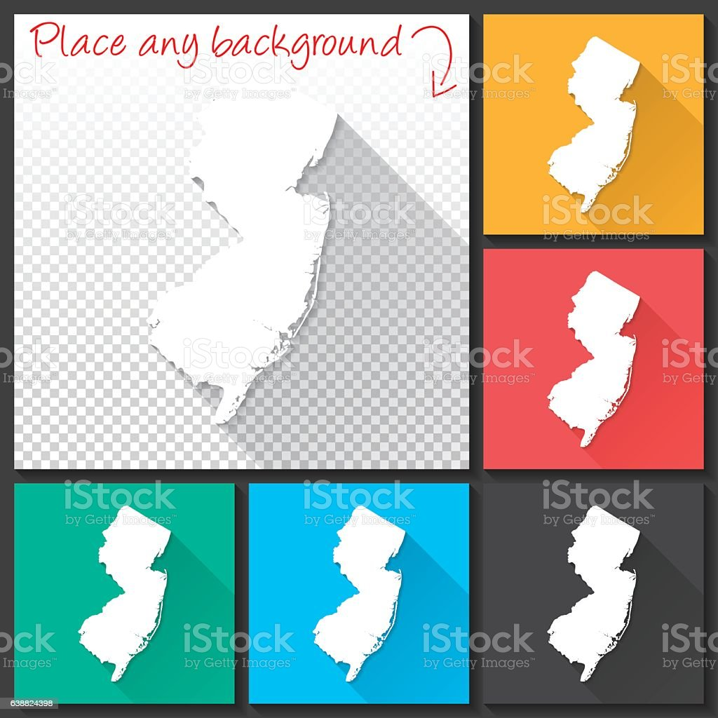 New Jersey Map For Design Long Shadow Flat Design Stock ...