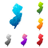 Set of 6 New Jersey maps created in a Low Poly style, isolated on a blank background. Modern and trendy polygonal mosaic with beautiful color gradients (colors used: Blue, Green, Orange, Yellow, Red, Pink, Purple, Black, Gray). Vector Illustration (EPS10, well layered and grouped). Easy to edit, manipulate, resize or colorize.