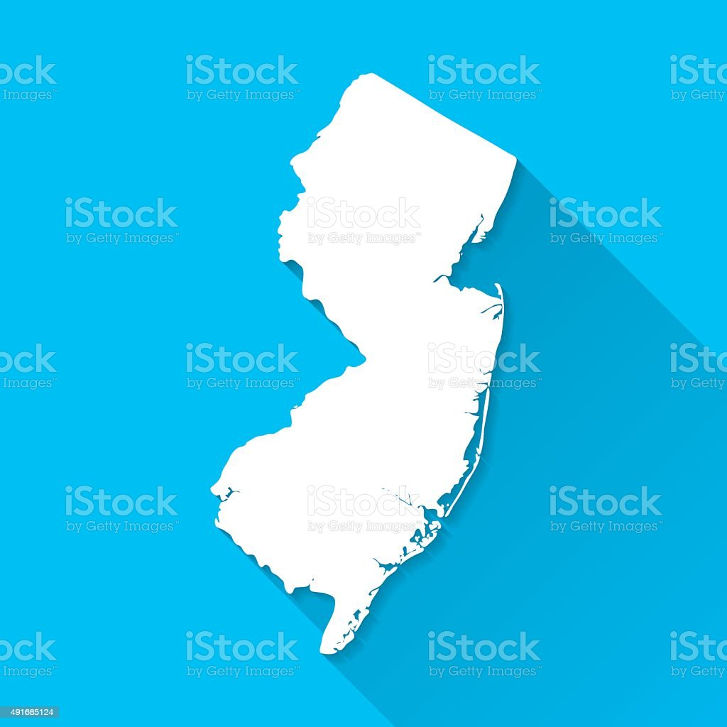 New Jersey Map on Blue Background, Long Shadow, Flat Design vector art illustration