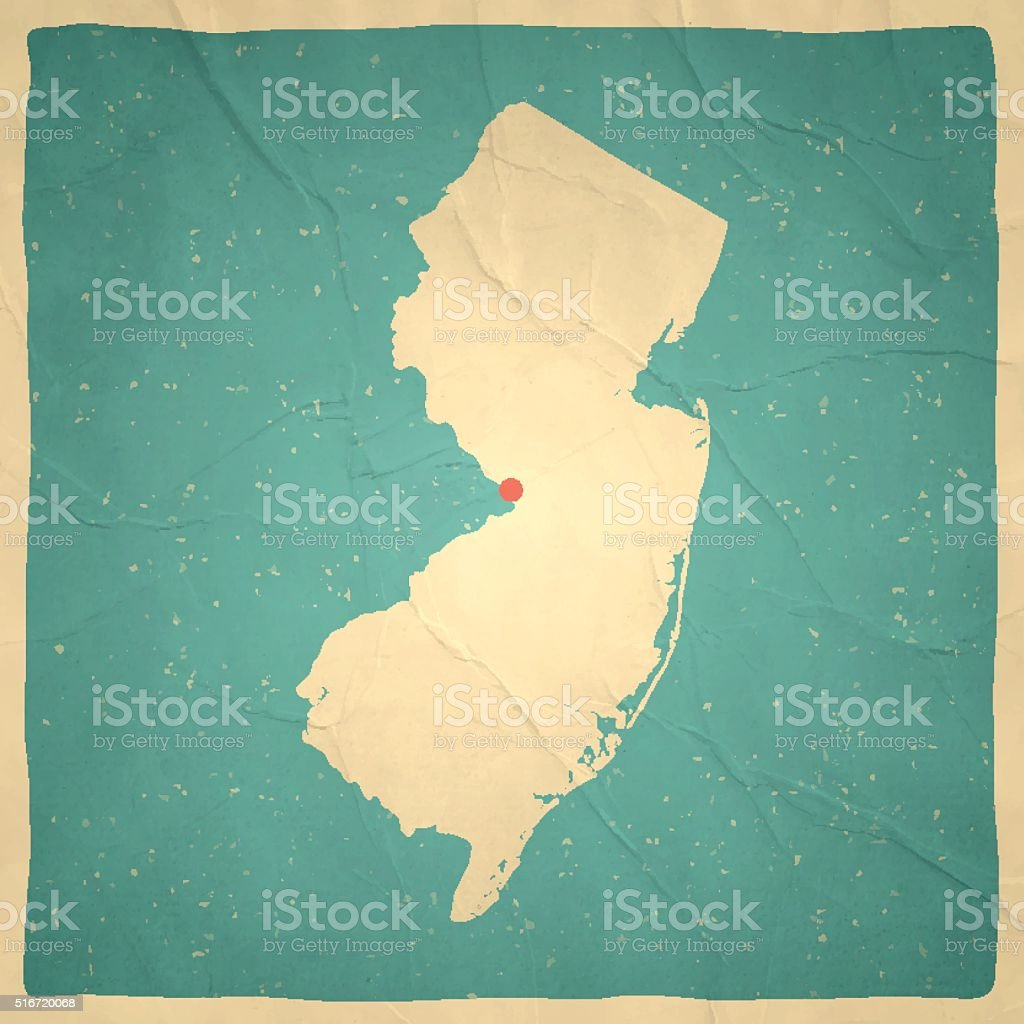 New Jersey On Map Of Usa.New Jersey Map On Old Paper Vintage Texture Stock Vector Art More