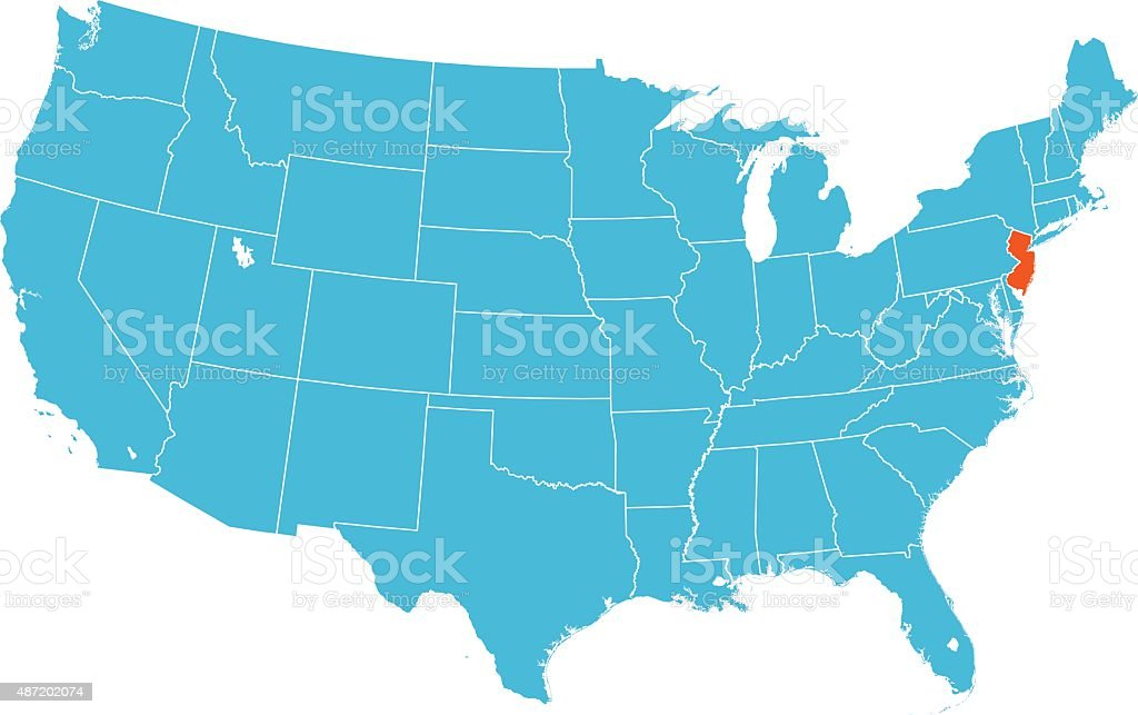 New Jersey On Map Of Usa.New Jersey Map Stock Vector Art More Images Of 2015 487202074 Istock