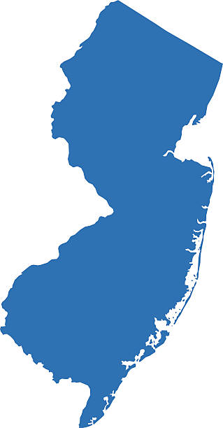 New Jersey Map Highly detailed map of New Jersey for your design and products. blue silhouettes stock illustrations