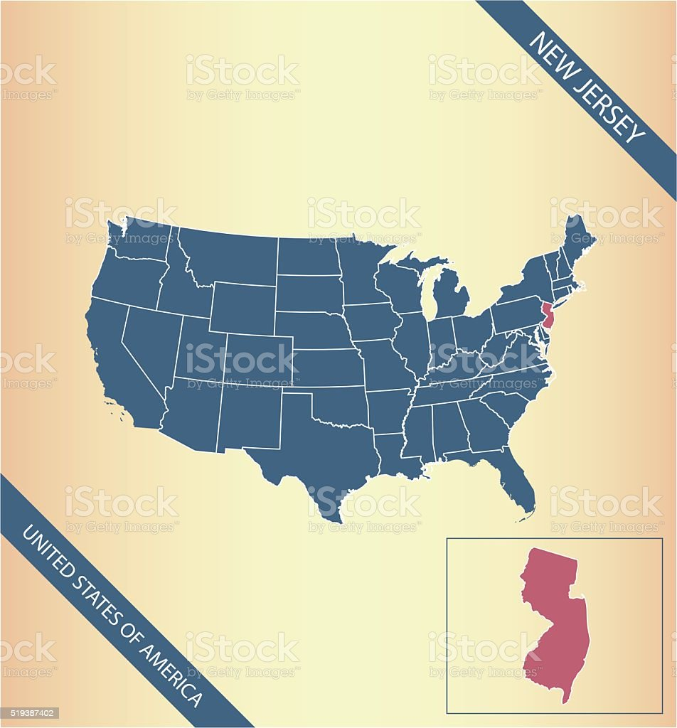 New Jersey Map Vector Outline Illustration Highlighted In Usa Map ...