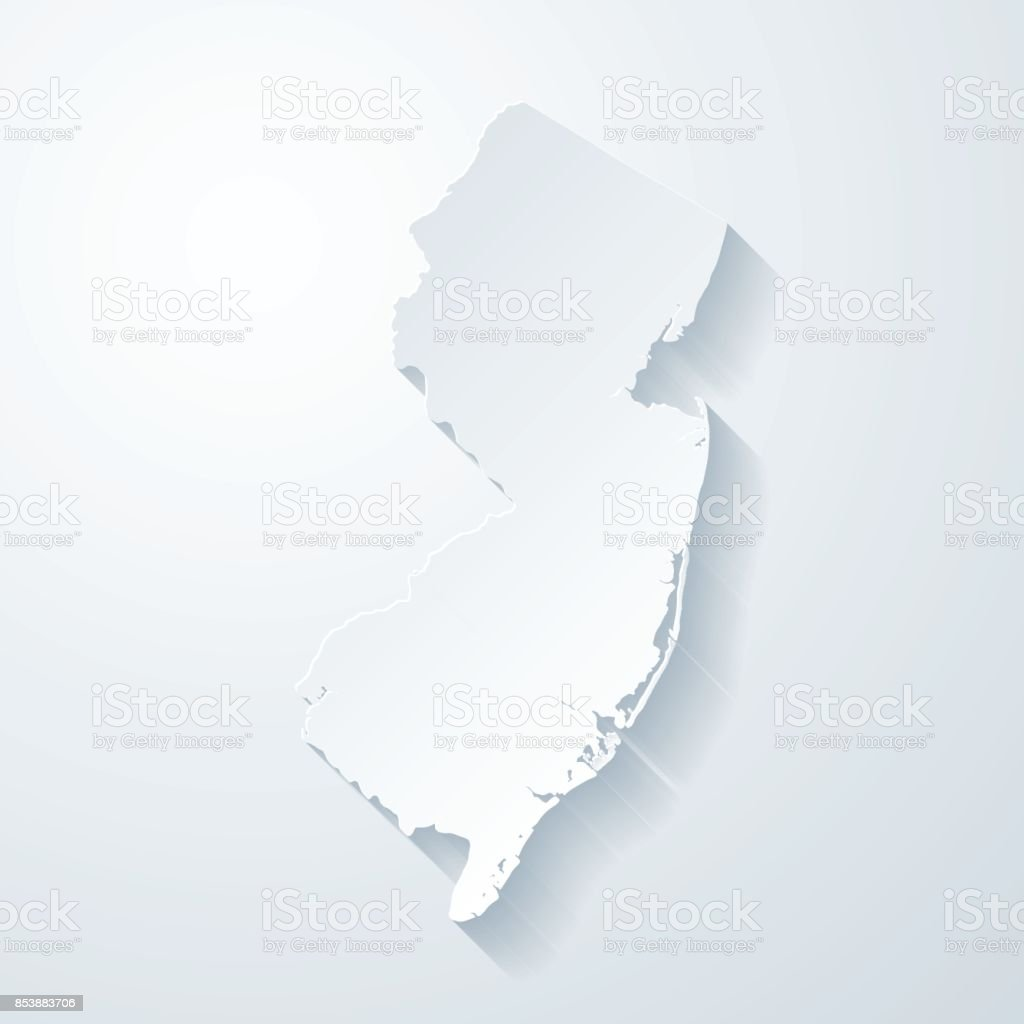New Jersey map with paper cut effect on blank background vector art illustration