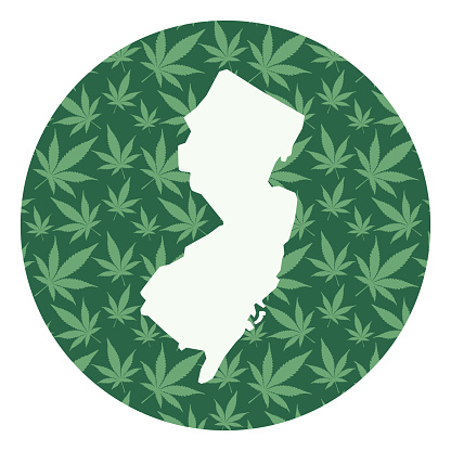 New Jersey Marijuana Leaves Round Map