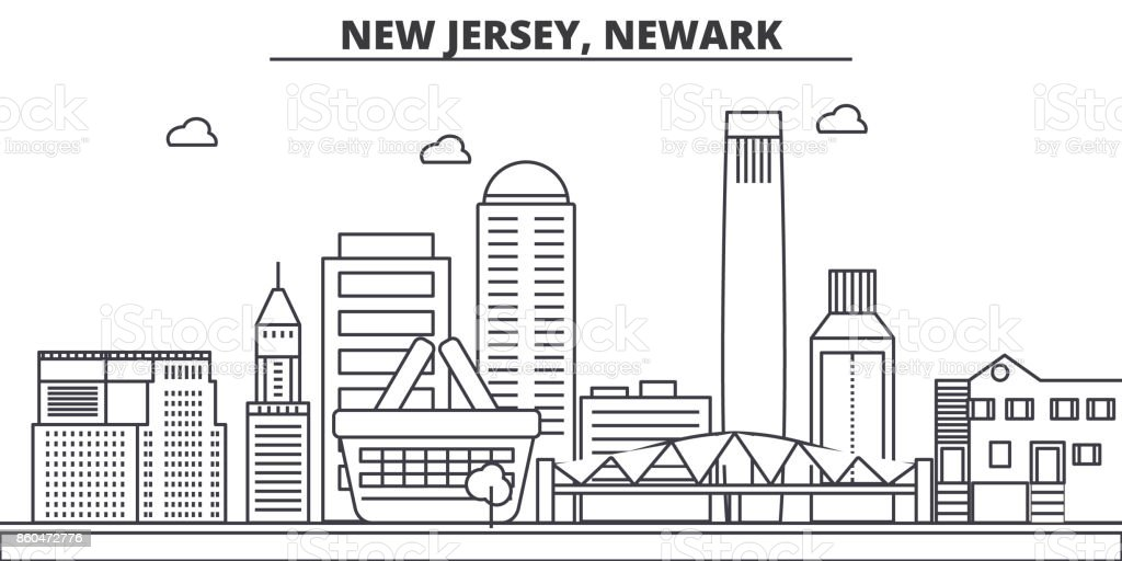 New Jersey, Newark architecture line skyline illustration. Linear vector cityscape with famous landmarks, city sights, design icons. Landscape wtih editable strokes vector art illustration