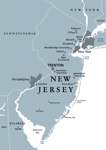 New Jersey, NJ, gray political map, The Garden State