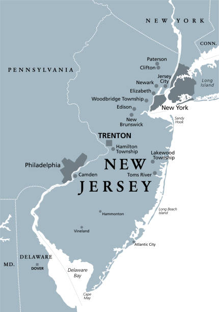 New Jersey, NJ, gray political map, The Garden State vector art illustration