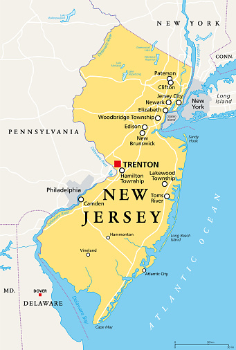 New Jersey, NJ, political map, The Garden State
