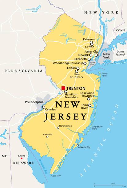 New Jersey, NJ, political map, The Garden State vector art illustration
