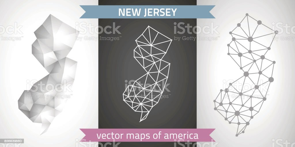 New Jersey set of grey and silver mosaic 3d polygonal maps. Graphic vector triangle geometry outline shadow perspective maps vector art illustration