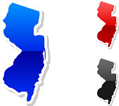 New Jersey state buttroyalty-free vector art in 3 colors