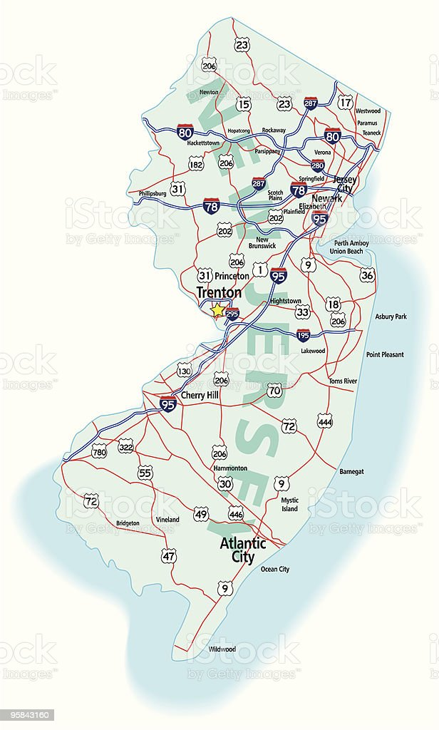 New Jersey State Interstate Map vector art illustration