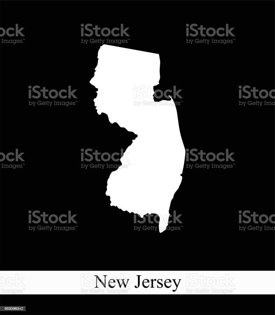 Amerika Karte Schwarz Weiß.New Jersey State Der Usa Karte Vektor Umriss Abbildung Schwarzweiß