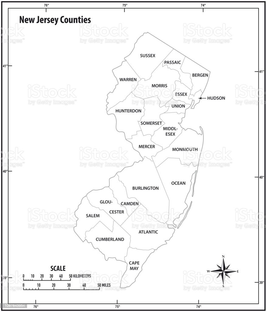 new jersey state outline administrative and political vector map in black and white