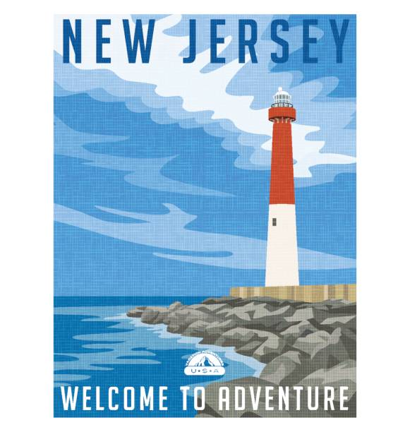 New Jersey travel poster or sticker. Vector illustration of historic lighthouse on the Atlantic coast. New Jersey travel poster or sticker. Vector illustration of historic lighthouse on the Atlantic coast. rocky coastline stock illustrations