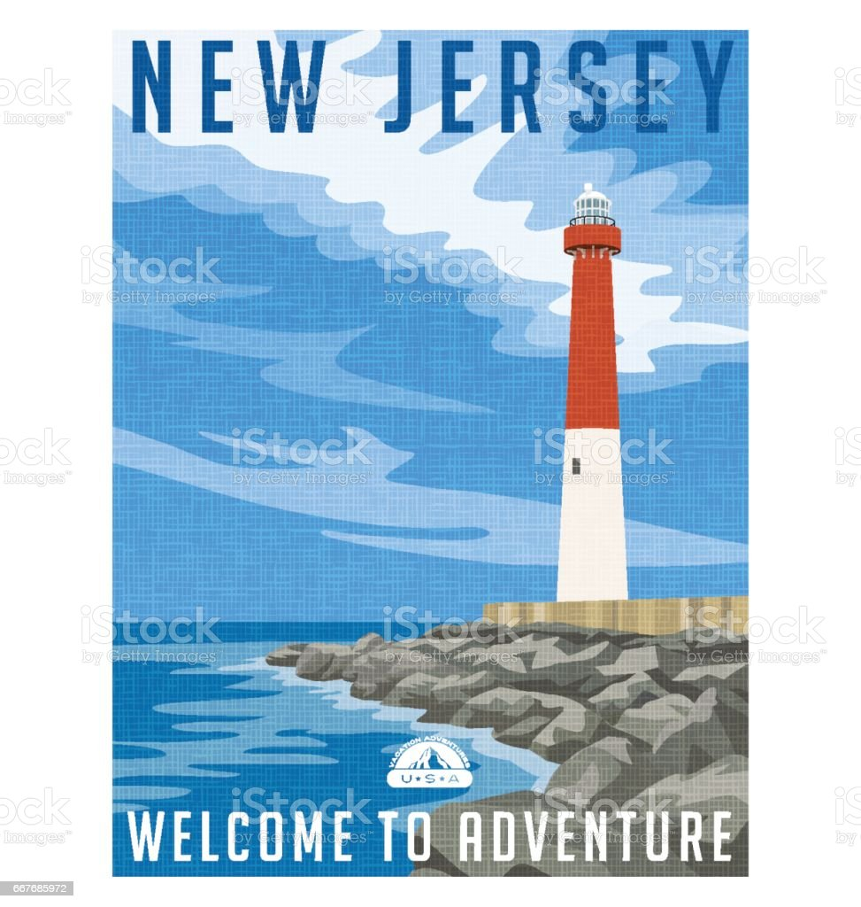 New Jersey travel poster or sticker. Vector illustration of historic lighthouse on the Atlantic coast. vector art illustration