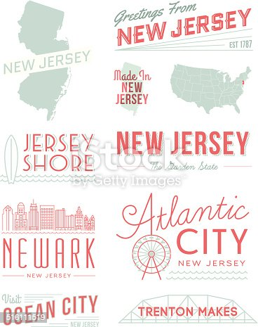 A set of vintage-style icons and typography representing the state of New Jersey, including Atlantic City, Newark, Trenton and more. Each items is on a separate layer. Includes a layered Photoshop document. Ideal for both print and web elements.