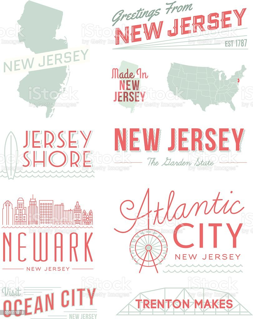 New Jersey Typography vector art illustration