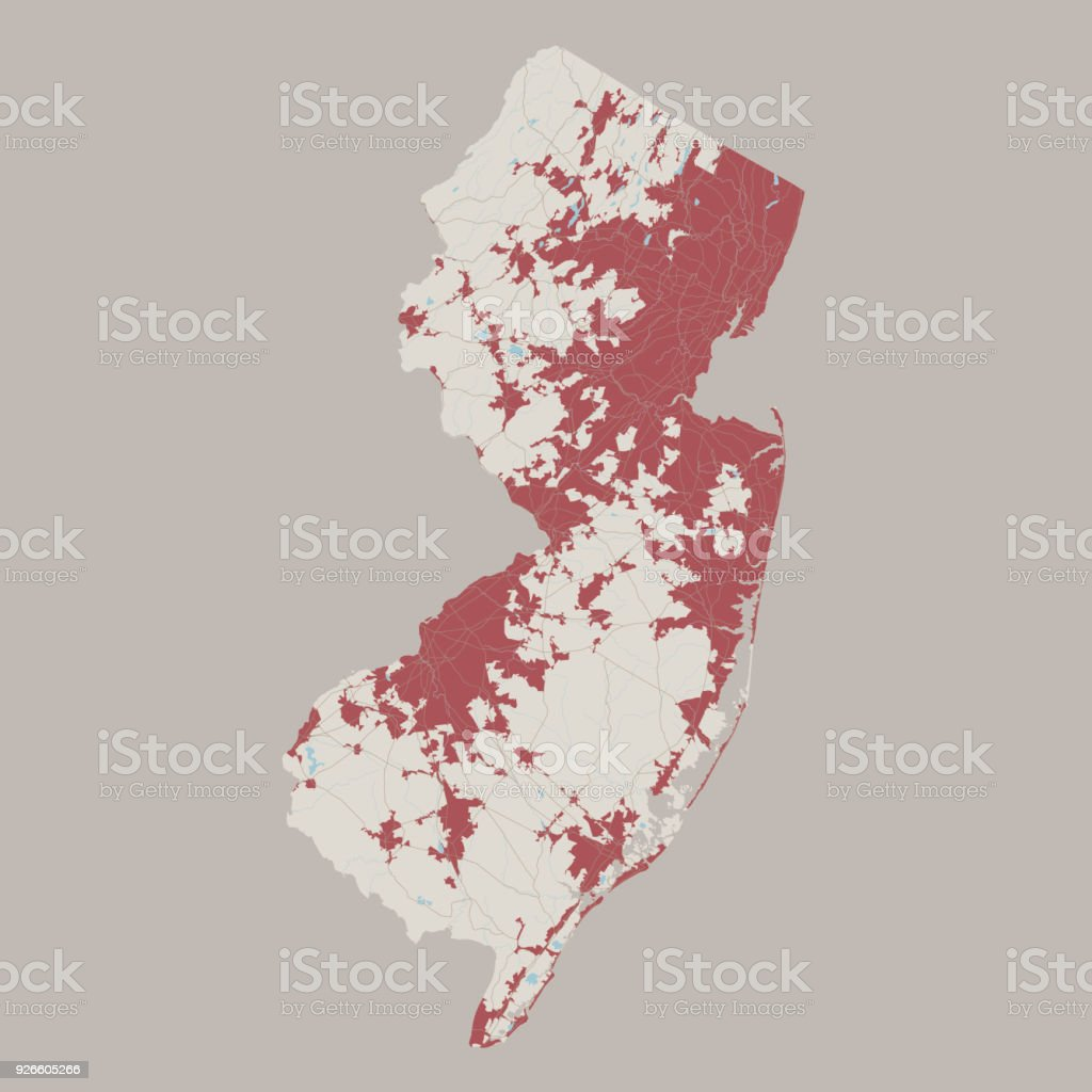 New Jersey US State Road Map vector art illustration