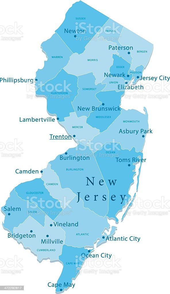 New Jersey Vector Map Regions Isolated vector art illustration