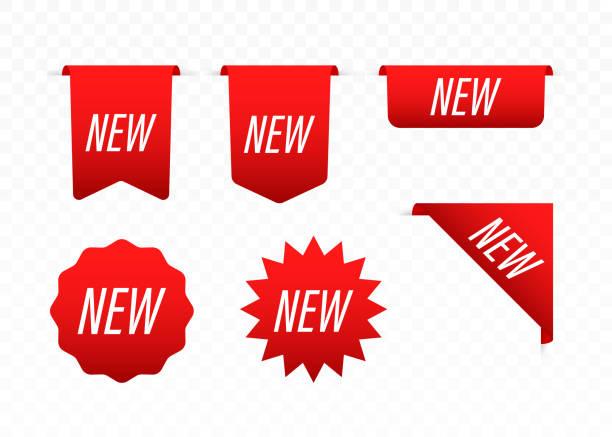 新標籤。新到達商店產品標籤的貼紙。向量庫存圖。 - 角落 描述 幅插畫檔、美工圖案、卡通及圖標