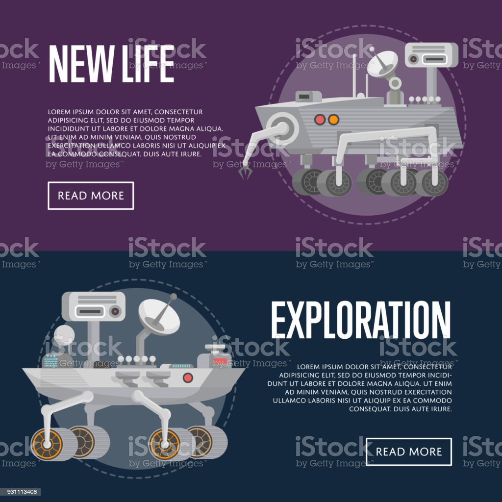 New life concepts with research rovers vector art illustration