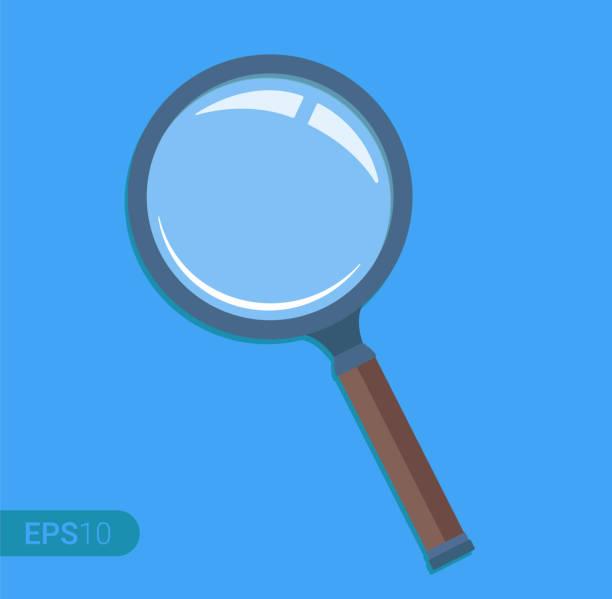 new magnifying glass isolated on blue background. retro design, flat icon - lupa sprzęt optyczny stock illustrations