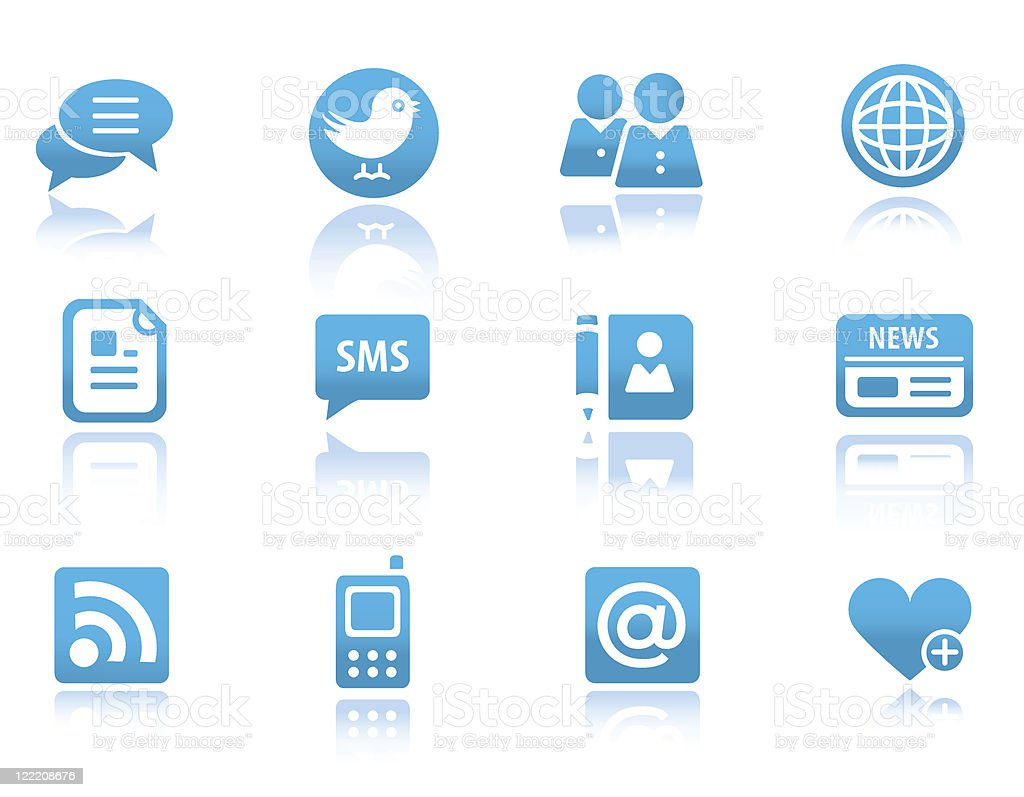 New media icons | Blue reflected series royalty-free stock vector art