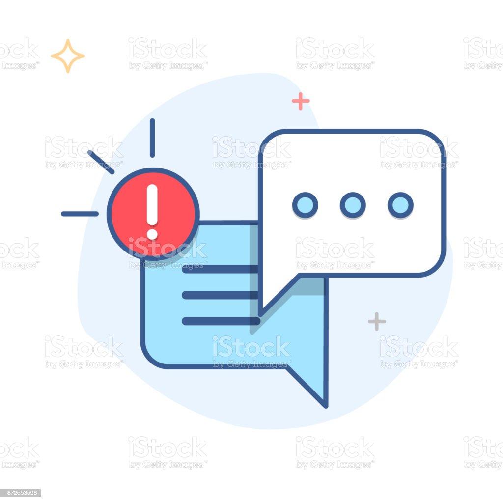 Nova mensagem, diálogo, vetor de ícone Chat notificação de bolha do discurso - ilustração de arte em vetor