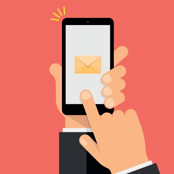 stockillustraties, clipart, cartoons en iconen met new message notification op smartphone scherm. hand houdt de smartphone en vinger raakt scherm. moderne flat design illustratie. - menselijke hand