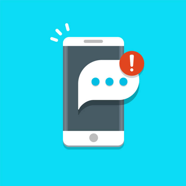 New messages notification on mobile phone vector illustration, message bubble on smartphone screen. New messages notification on mobile phone vector illustration, message bubble on smartphone screen. eps 10 alertness stock illustrations