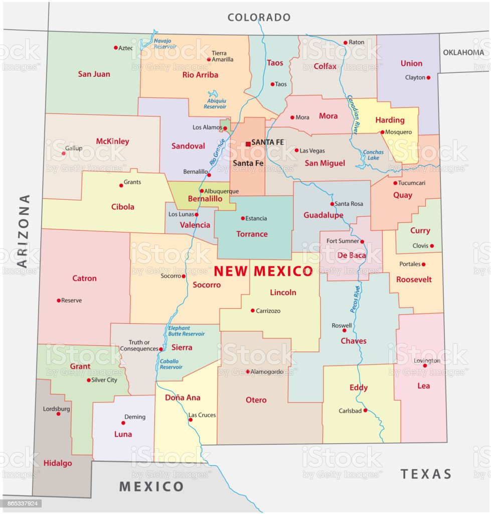 New mexico administrative map vector art illustration
