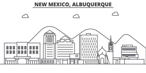 New Mexico Albuquerque architecture line skyline illustration. Linear vector cityscape with famous landmarks, city sights, design icons. Landscape wtih editable strokes vector art illustration