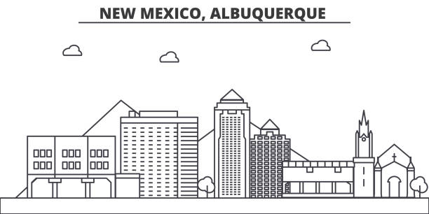 New Mexico, Albuquerque architecture line skyline illustration. Linear vector cityscape with famous landmarks, city sights, design icons. Landscape wtih editable strokes vector art illustration