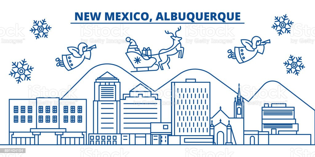 USA, New Mexico , Albuquerque winter city skyline. Merry Christmas and Happy New Year decorated banner. Winter greeting card with snow and Santa Claus. Flat, line vector. Linear christmas illustration vector art illustration