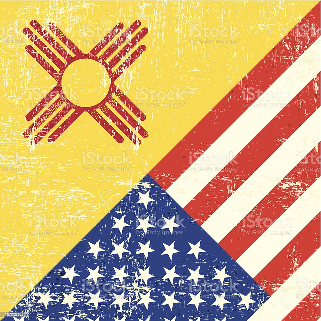 New Mexico and USA grunge Flag royalty-free stock vector art