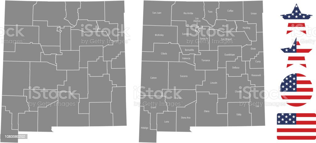 New Mexico County Map Vector Outline In Gray Background New Mexico ...