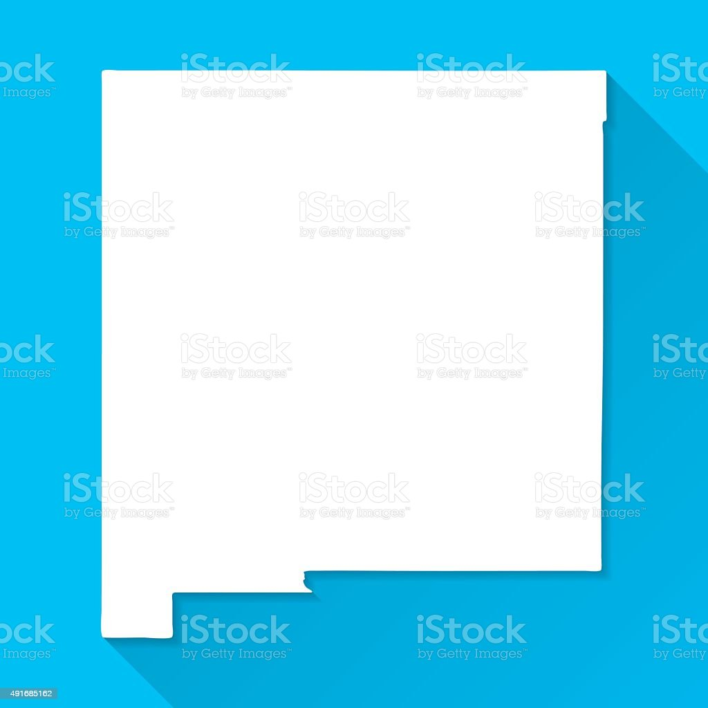 New Mexico Map on Blue Background, Long Shadow, Flat Design vector art illustration