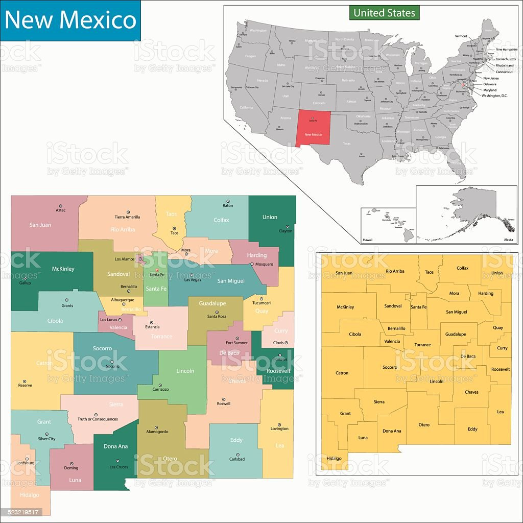 New Mexico map vector art illustration