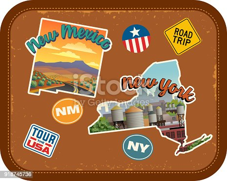 New Mexico, New York travel stickers with scenic attractions and retro text. State outline shapes. State abbreviations and tour USA stickers. Vintage suitcase background