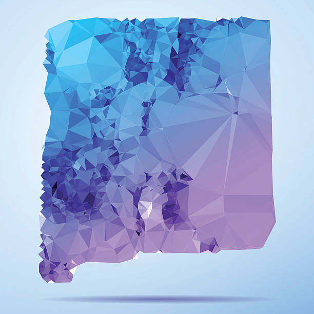 New Mexico Polygon Triangle Map Blue Abstract Polygon Triangle vector map of New Mexico, USA. File was created in DMesh Pro and Adobe Illustrator on July 10, 2015. The colors in the .eps-file are in RGB. Transparencies used. Included files are EPS (v10) and Hi-Res JPG (5035 x 5035 px). map crystal stock illustrations