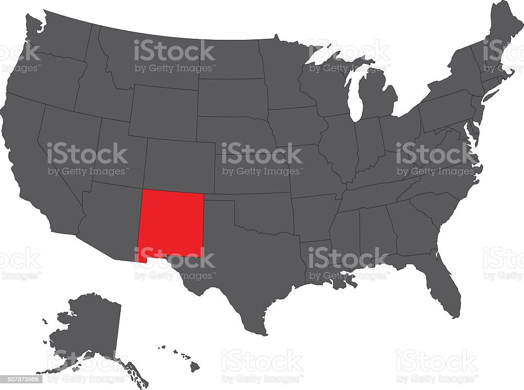 New Mexico red map on gray USA map vector vector art illustration
