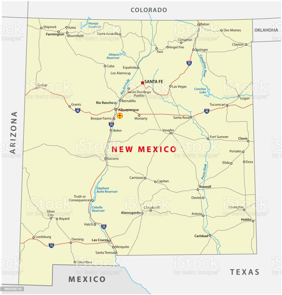 Road Map Of Arizona And New Mexico.New Mexico Road Map Stock Vector Art More Images Of Cartography