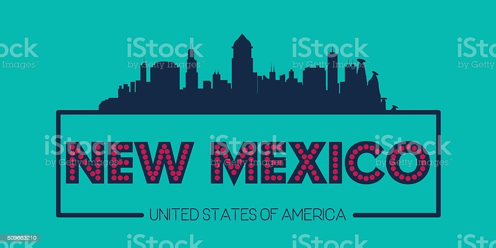 New Mexico skyline silhouette poster vector vector art illustration